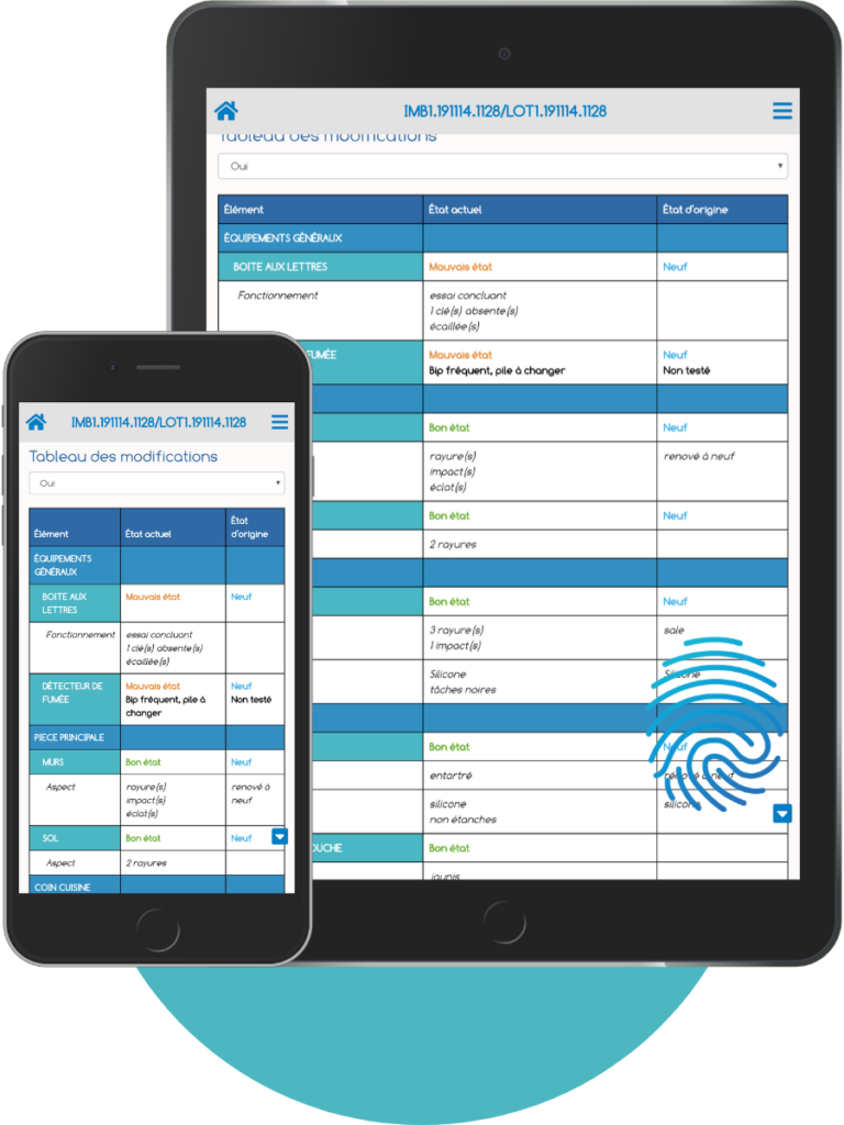 Exemple de comparatif des états des lieux ou suivis de travaux d'ImmoPad en Mock Up smartphone et tablette