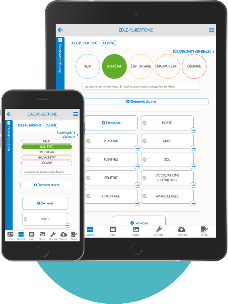 Exemple des états des lieux d'ImmoPad en Mock Up smartphone et tablette