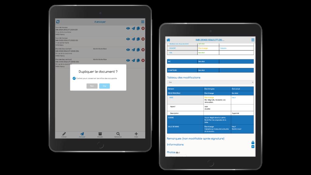 Deux mock-up de tablettes présentant le duplicata de document et la mise en comparaison d'état des lieux d'entrée et de sortie avec ImmoPad.